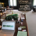 Our table in Mandel Hall at the University of Chicago.