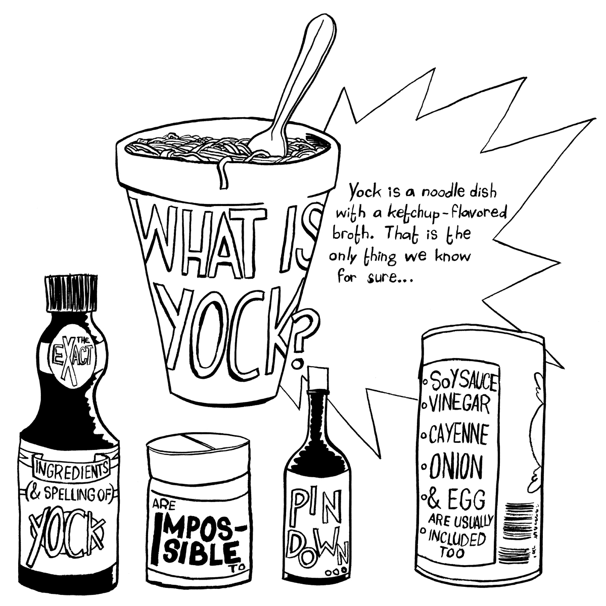 This image is a sample page from the final yock project, a comic book with line drawings. This page shows bottles, referencing the different ingredients that make up yock.